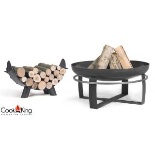 Feuerschale Viking + Holzablage Mila